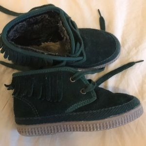 Other - Suede forest green moccasin boots